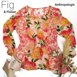 Fig & Flower Anthropologie Sheer Coral Top M Petit